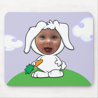 Funny Bunny Rabbit Photo Face Template Mouse Pad