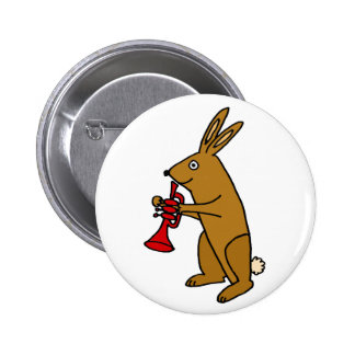 Funny Bunny Rabbit Playing Trumpet Pinback Button