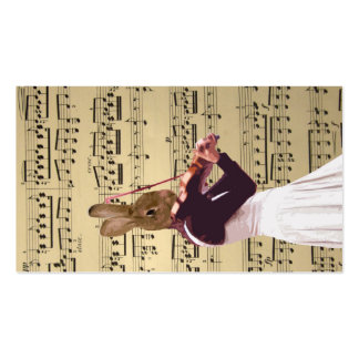Funny bunny rabbit violinist business card