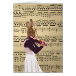 Funny bunny rabbit violinist card
