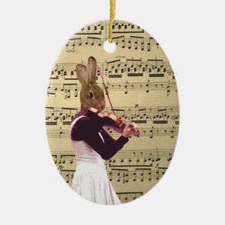 Funny bunny rabbit violinist ceramic ornament