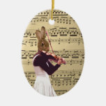 Funny bunny rabbit violinist christmas ornaments