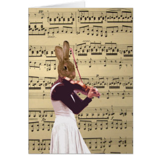 Funny bunny rabbit violinist greeting card