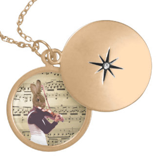 Funny bunny rabbit violinist locket necklace