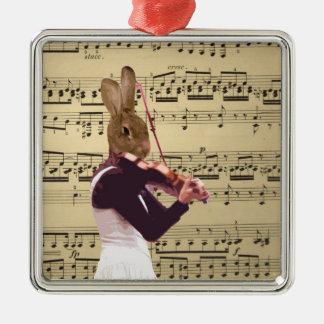 Funny bunny rabbit violinist metal ornament