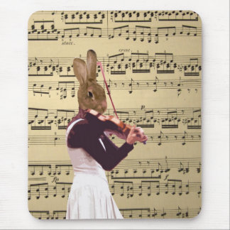 Funny bunny rabbit violinist mouse pad