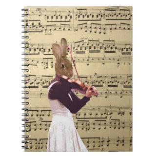 Funny bunny rabbit violinist spiral notebook