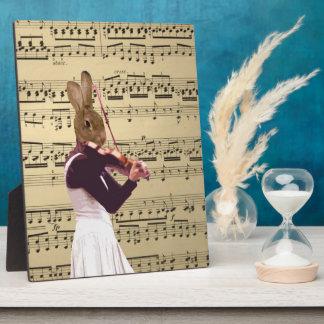 Funny bunny rabbit violinist plaque
