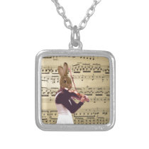 Funny bunny rabbit violinist silver plated necklace