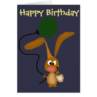Funny Bunny Rabbit with Green Balloon Card