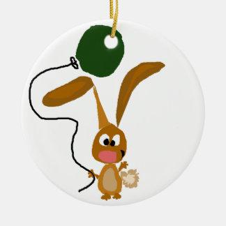 Funny Bunny Rabbit with Green Balloon Ceramic Ornament