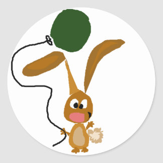 Funny Bunny Rabbit with Green Balloon Classic Round Sticker