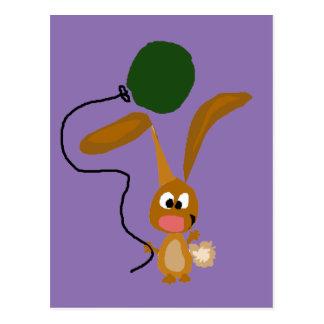 Funny Bunny Rabbit with Green Balloon Postcard
