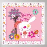funny bunny wall art poster