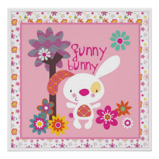 funny bunny wall art poster