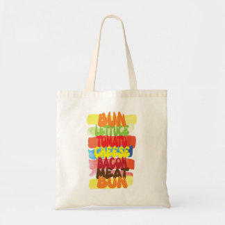 Funny Burger Typography Art Tote Bag
