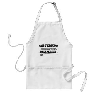 Funny burmese designs adult apron