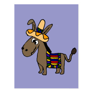 Funny Burro with Sombrero and Blanket Postcard