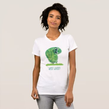Beach Themed Funny Burrowing Owl in Green and Blue T-Shirt