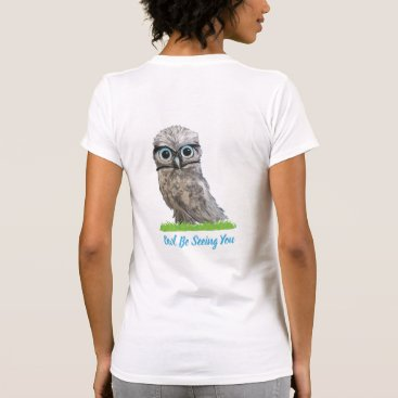 Beach Themed Funny Burrowing Owl in Silver and Blue T-Shirt