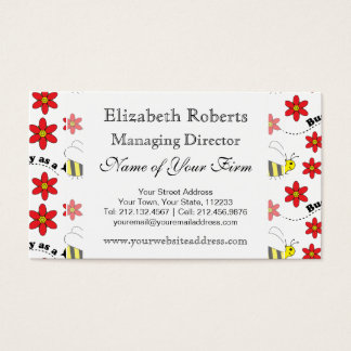 Funny Busy Little Bumble Bee Pattern Cute Business Card