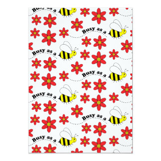 """Funny Busy Little Bumble Bee Pattern Cute 5"""" X 7"""" Invitation Card"""