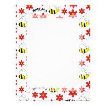 Funny Busy Little Bumble Bee Pattern Cute Letterhead
