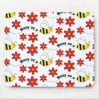 Funny Busy Little Bumble Bee Pattern Cute Mouse Pad