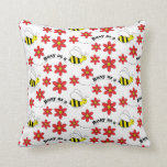 Funny Busy Little Bumble Bee Pattern Cute Pillow