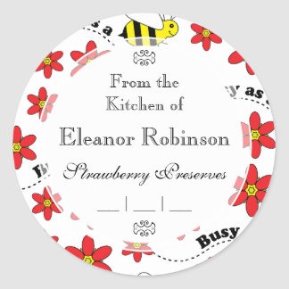 Funny Busy Little Bumble Bee Pattern Cute Classic Round Sticker