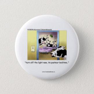 Funny Buttons: Cows: Pasteur Bedtime Pinback Button