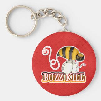 Funny Buzz Kill Bee Basic Round Button Keychain