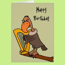 Funny Buzzard Playing Harp Design Card