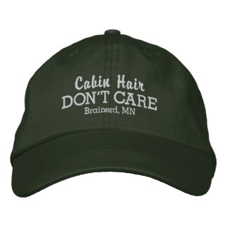 Funny Cabin Hair Don't Care Custom Town/Lake Name Embroidered Baseball Hat