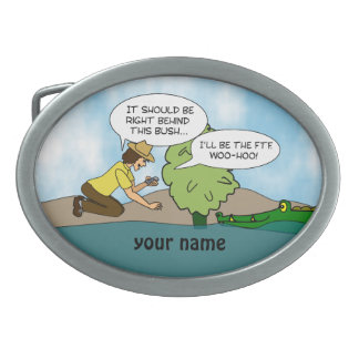 Funny Cache Geocaching Cartoon Personalized Name Belt Buckle