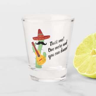 Funny Cactus Cartoon Mexican Tequila Shot Glass