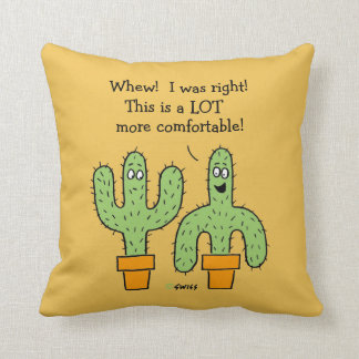 Funny Cactus Cartoon on Desert Gold Background Throw Pillow