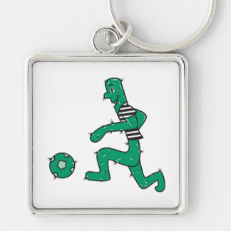 funny cactus playing soccer keychain