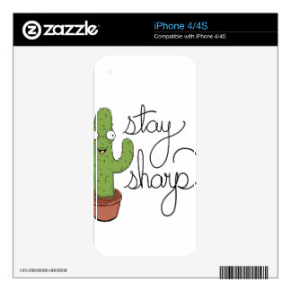 Funny Cactus Stay Sharp Character iPhone 4 Decals