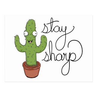 Funny Cactus Stay Sharp Character Postcard