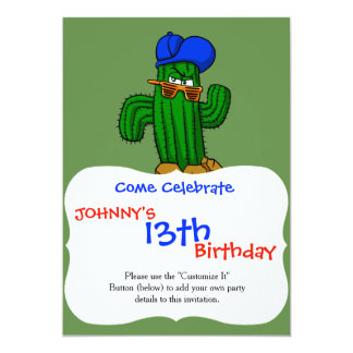 Funny cactus with hat and sunglasses card