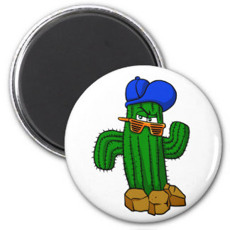 Funny cactus with hat and sunglasses magnet