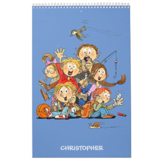 Funny Calendar For Kids Personalized Blue