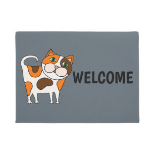 Calico Cat With Interesting Gps >> Calico Cat Doormats Welcome Mats Zazzle