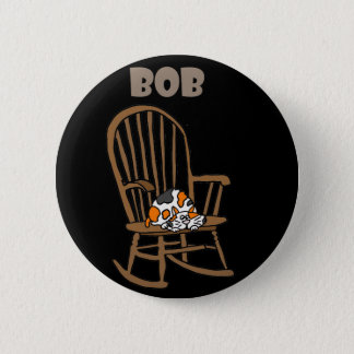 Funny Calico Cat in Rocking Chair Pinback Button