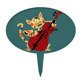 Funny Calico Cat Playing Cello Art Cartoon Cake Topper