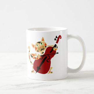 Funny Calico Cat Playing Cello Art Cartoon Coffee Mug