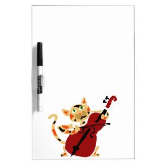 Funny Calico Cat Playing Cello Art Cartoon Dry-Erase Board
