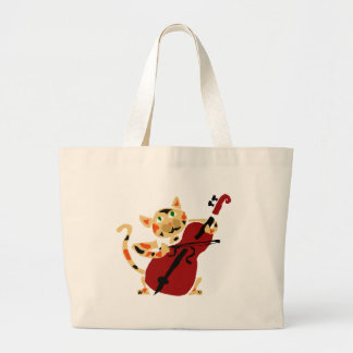 Funny Calico Cat Playing Cello Art Cartoon Large Tote Bag