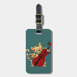 Funny Calico Cat Playing Cello Art Cartoon Luggage Tag